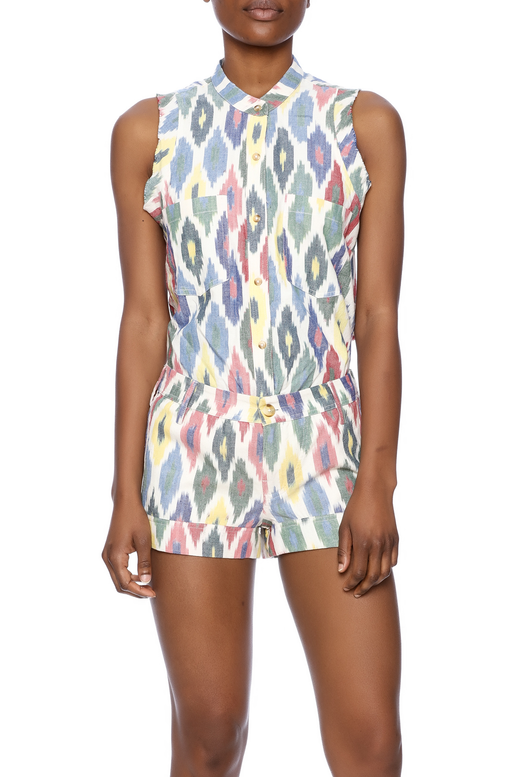 The ODells Ikat Tie-Up Top - Side Cropped Image