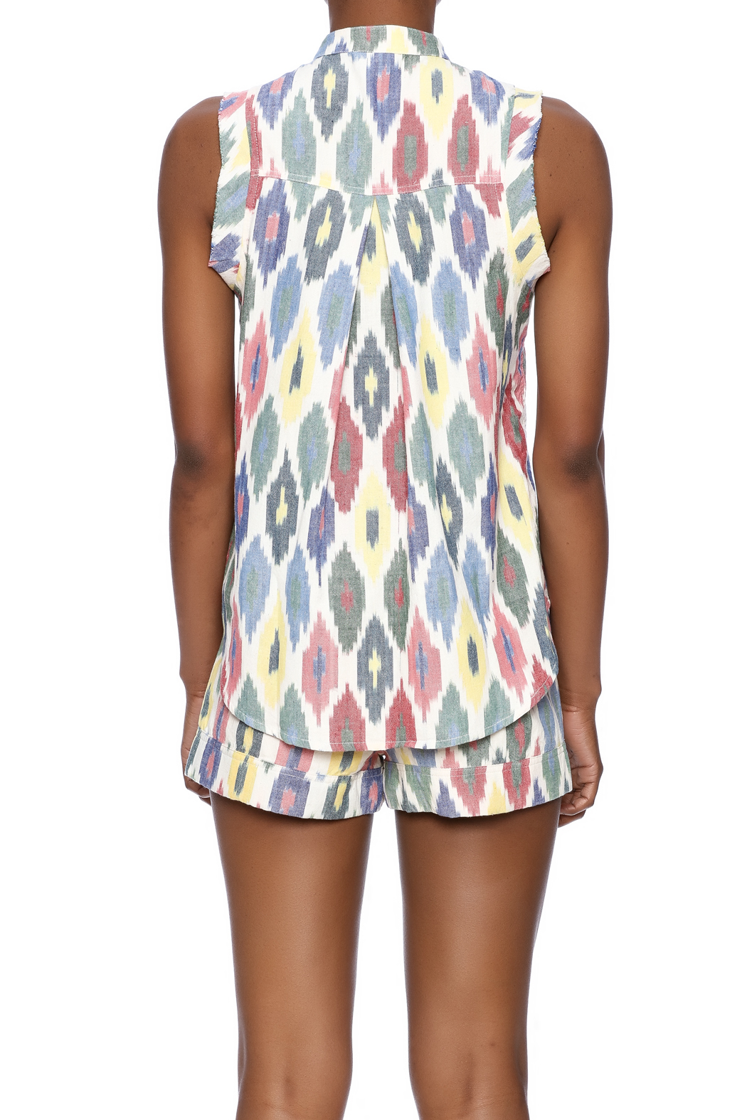The ODells Ikat Tie-Up Top - Back Cropped Image