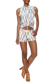 The ODells Ikat Tie-Up Top - Front full body