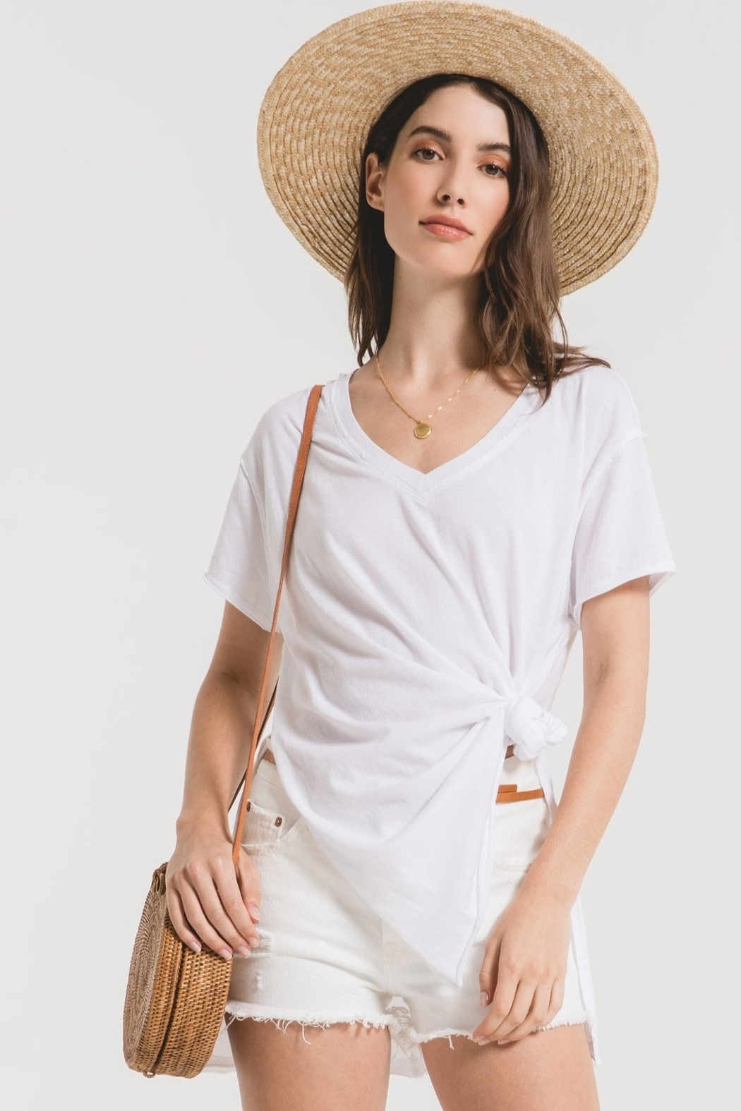 z supply The Organic Cotton Side Slit Tunic - Front Full Image