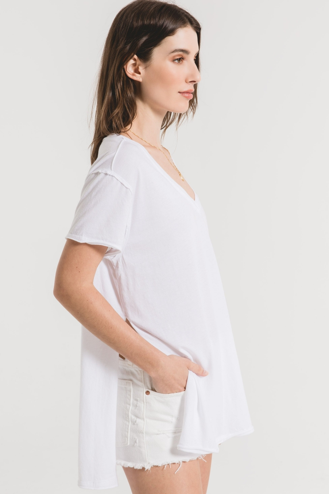 z supply The Organic Cotton Side Slit Tunic - Side Cropped Image