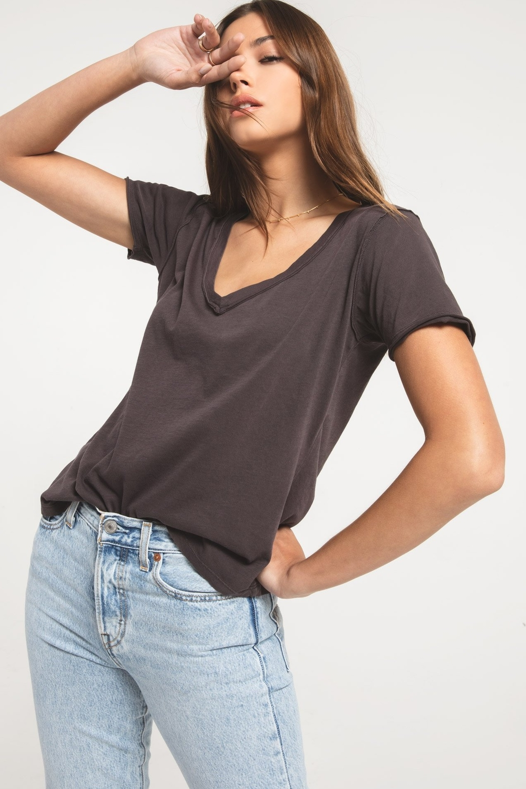 Z Supply  The Organic Cotton V-Neck Tee - Front Cropped Image
