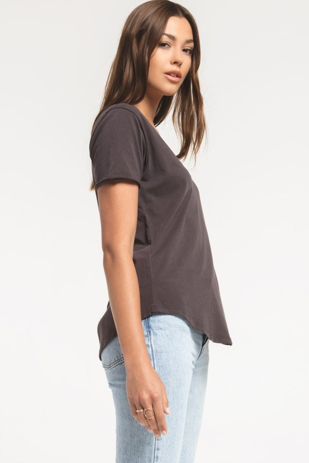 z supply The Organic Cotton V-Neck Tee - Front Full Image