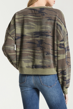 Z Supply  The Oversized Camo Fleece Cropped Pullover - Alternate List Image
