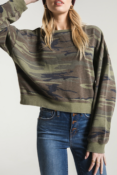 Z Supply  The Oversized Camo Fleece Cropped Pullover - Product List Image