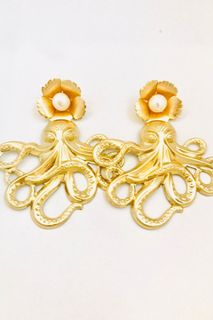 Shoptiques Product: The Pink Reef Crystal pearl and golden octopus