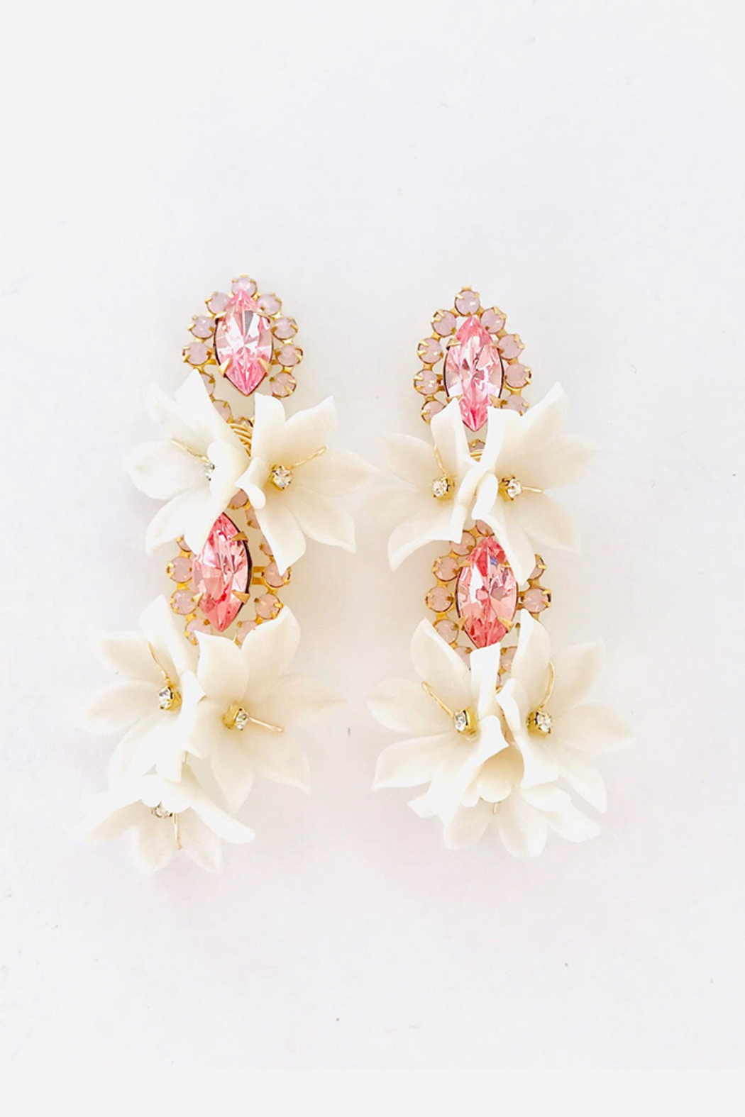 The Pink Reef pink crystal double floral bouquet earring - Main Image