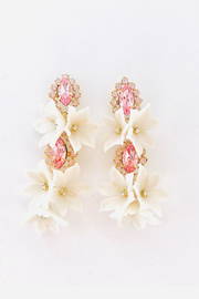The Pink Reef pink crystal double floral bouquet earring - Product Mini Image