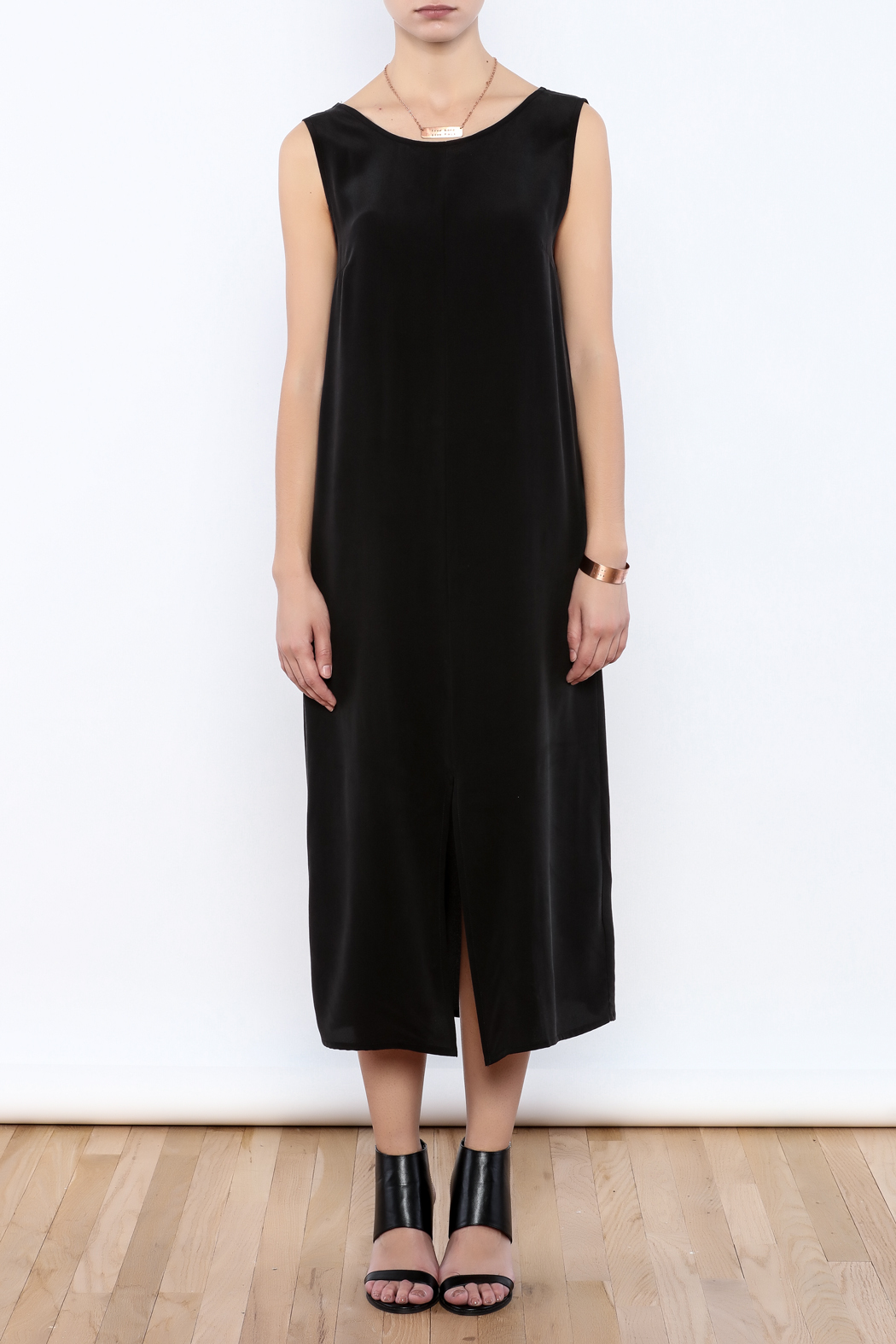 The Podolls Black Silk Dress - Front Cropped Image