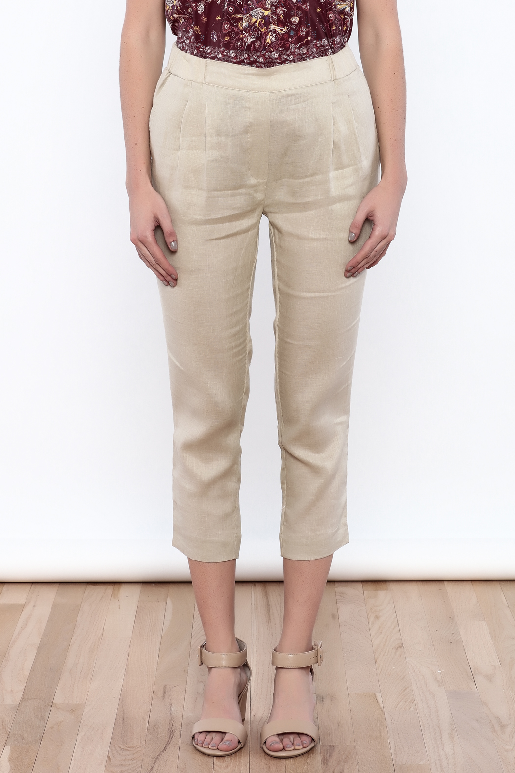 The Podolls Natural Linen Pants - Side Cropped Image
