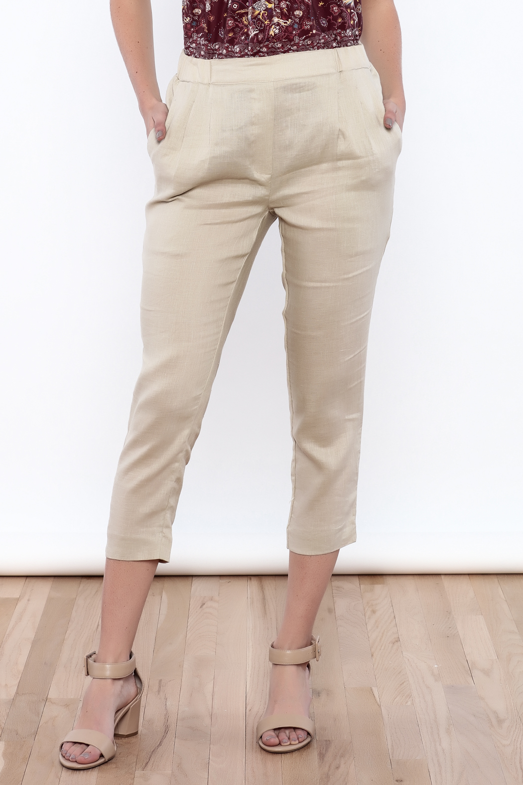 The Podolls Natural Linen Pants - Front Cropped Image