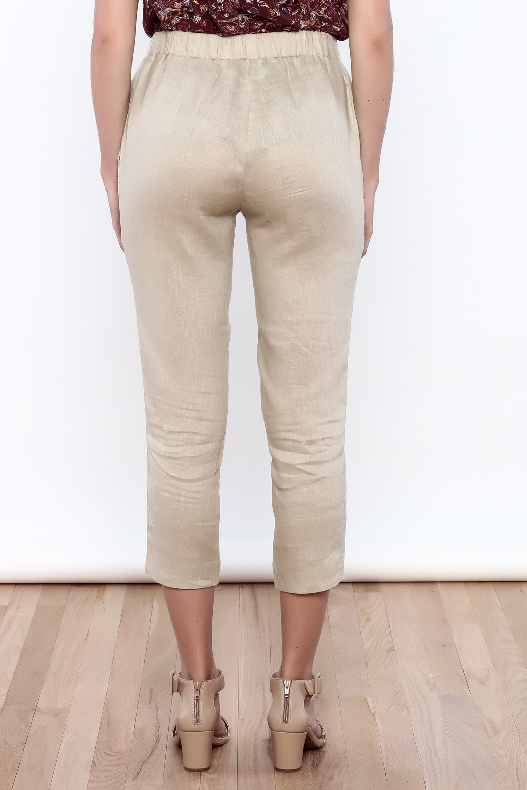 The Podolls Natural Linen Pants - Back Cropped Image