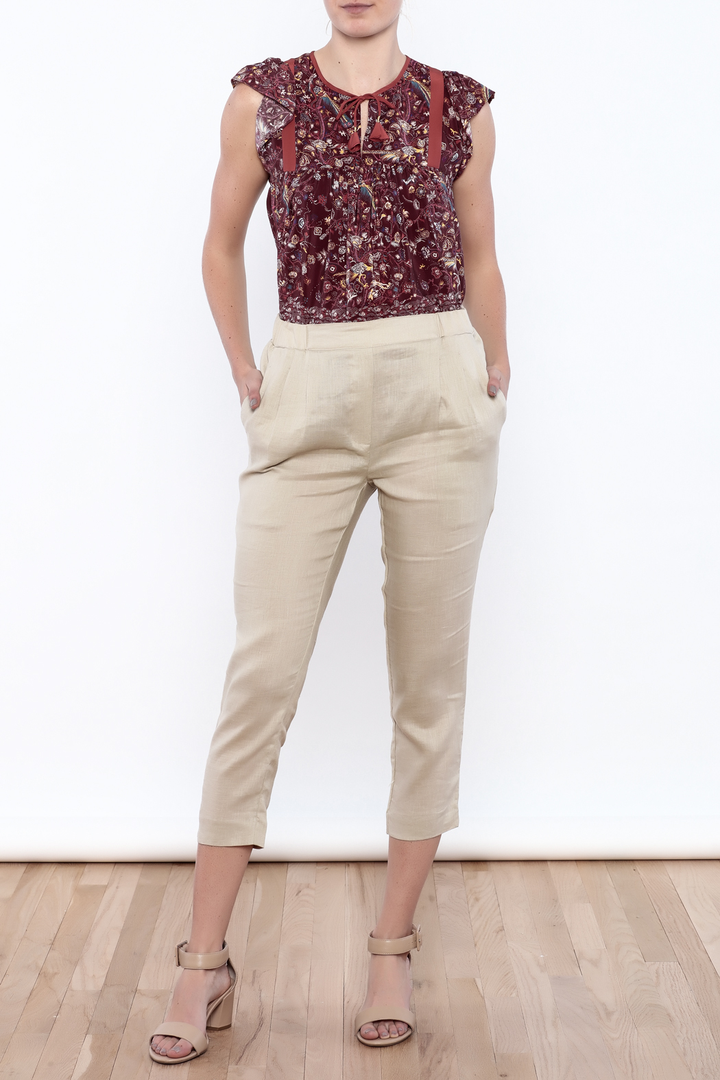 The Podolls Natural Linen Pants - Front Full Image