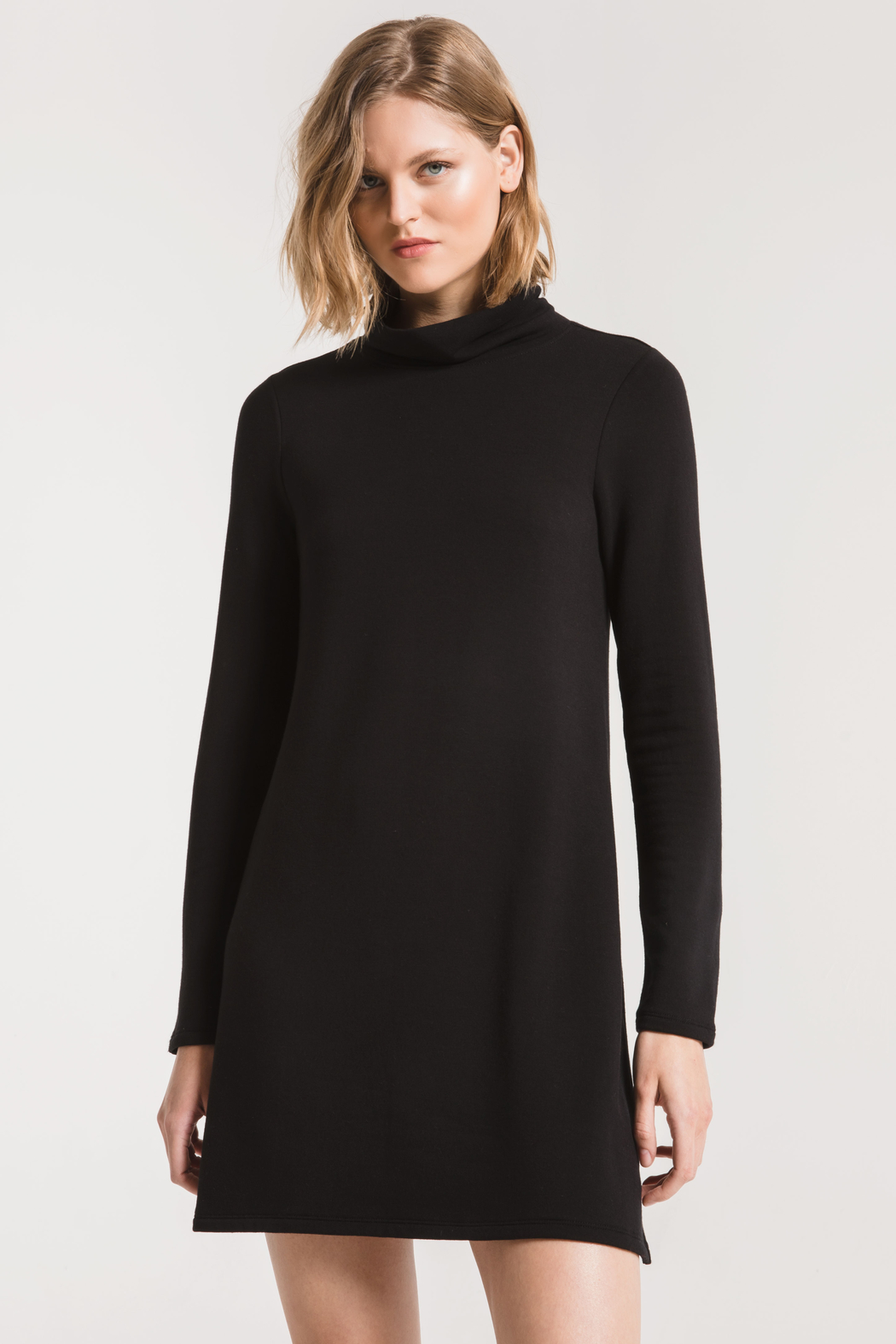 z supply The Premium Fleece Turtleneck Dress - Front Cropped Image