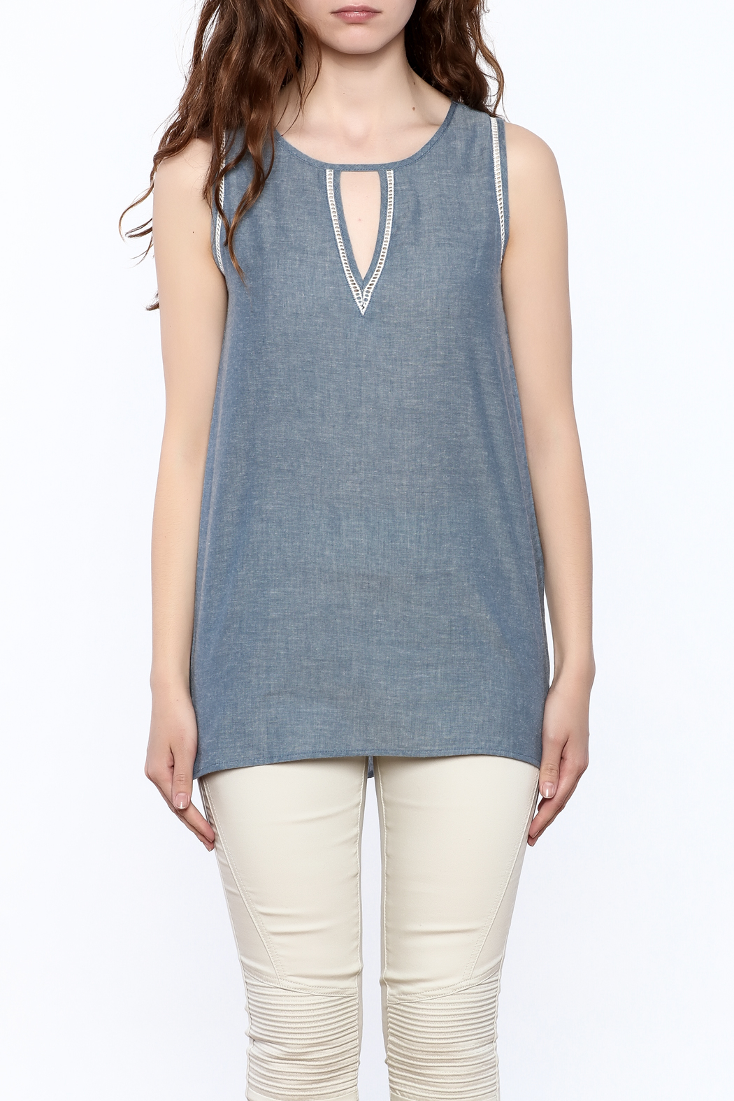 The Royal Standard Chambray Sleeveless Tunic Top - Side Cropped Image