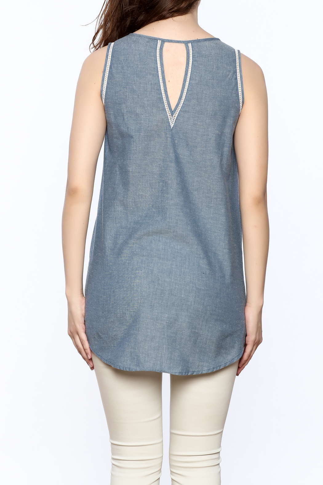 The Royal Standard Chambray Sleeveless Tunic Top - Back Cropped Image
