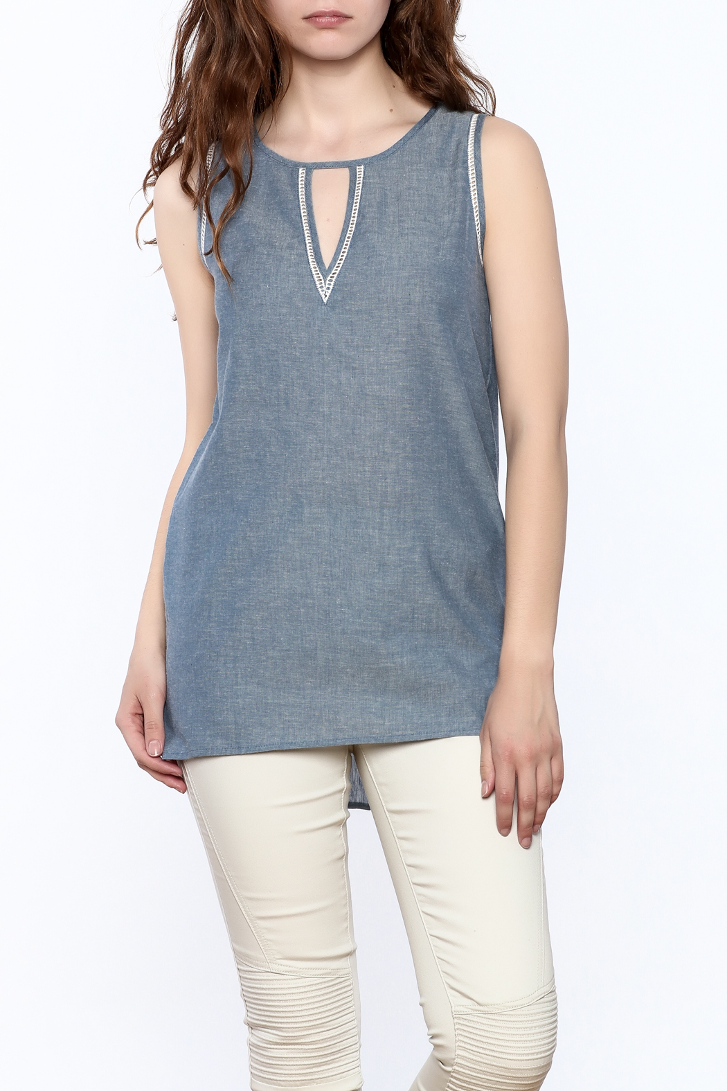 The Royal Standard Chambray Sleeveless Tunic Top - Front Cropped Image