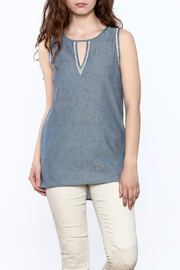 The Royal Standard Chambray Sleeveless Tunic Top - Front cropped