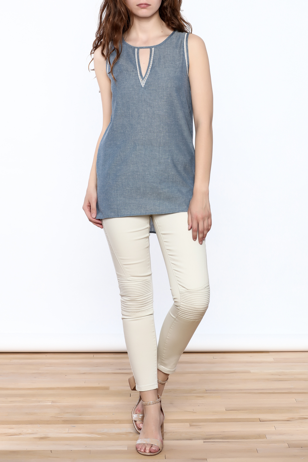 The Royal Standard Chambray Sleeveless Tunic Top - Front Full Image