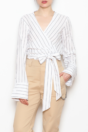 The Sang Striped Wrap Tie Top - Product Mini Image