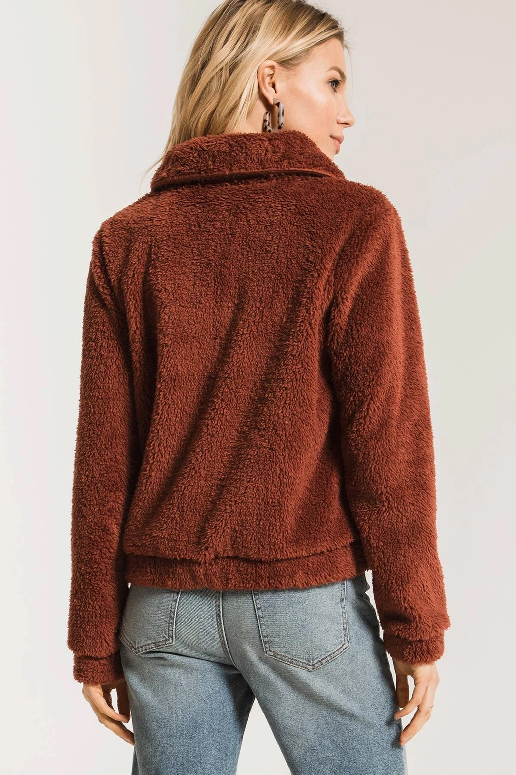 z supply The Sherpa Crop Jacket - Back Cropped Image