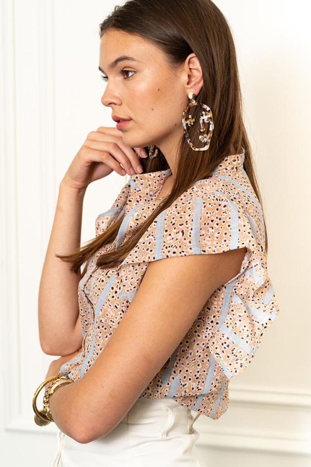 The Shirt Rochelle Behrens  THE SHIRT LEOPARD FLUTTER SLEEVE BLOUSE - Front Full Image