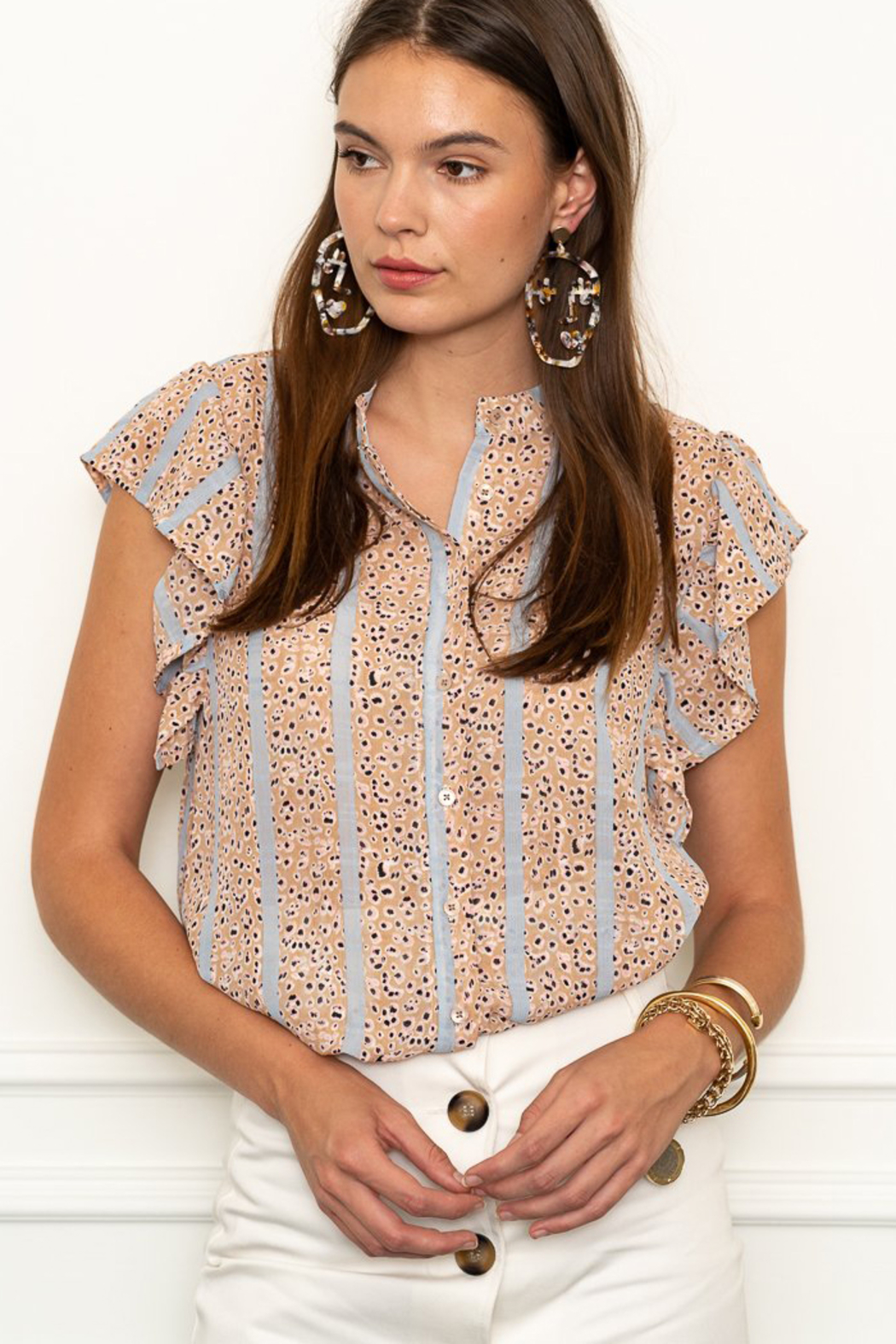 The Shirt Rochelle Behrens  THE SHIRT LEOPARD FLUTTER SLEEVE BLOUSE - Front Cropped Image
