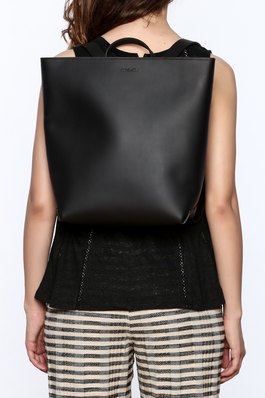 The Stowe Black Leather Backpack - Back Cropped Image