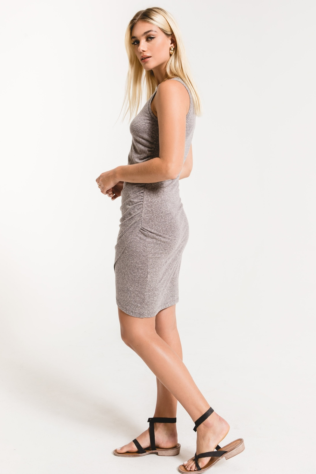z supply The Triblend Tulip Midi Dress - Front Full Image