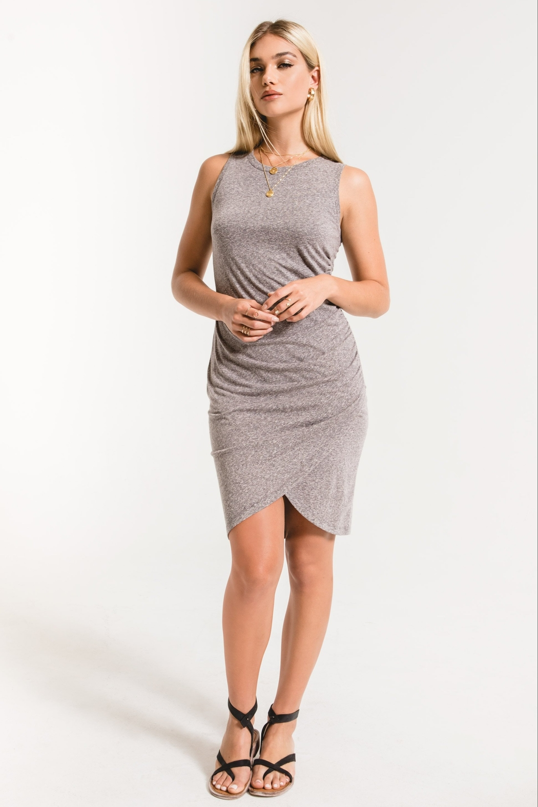 z supply The Triblend Tulip Midi Dress - Back Cropped Image