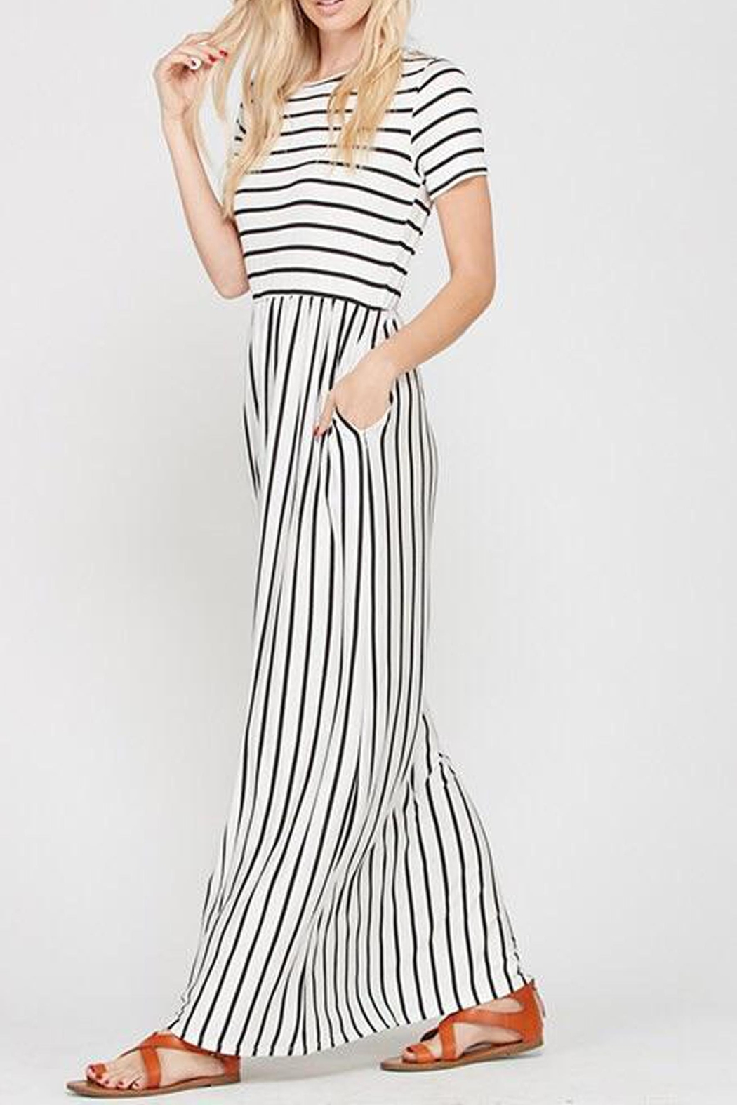 Style Trolley The Victoria Striped-Maxi - Back Cropped Image