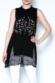 The Vintage Valet Embroidered Black Tank - Front cropped