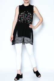 The Vintage Valet Embroidered Black Tank - Front full body
