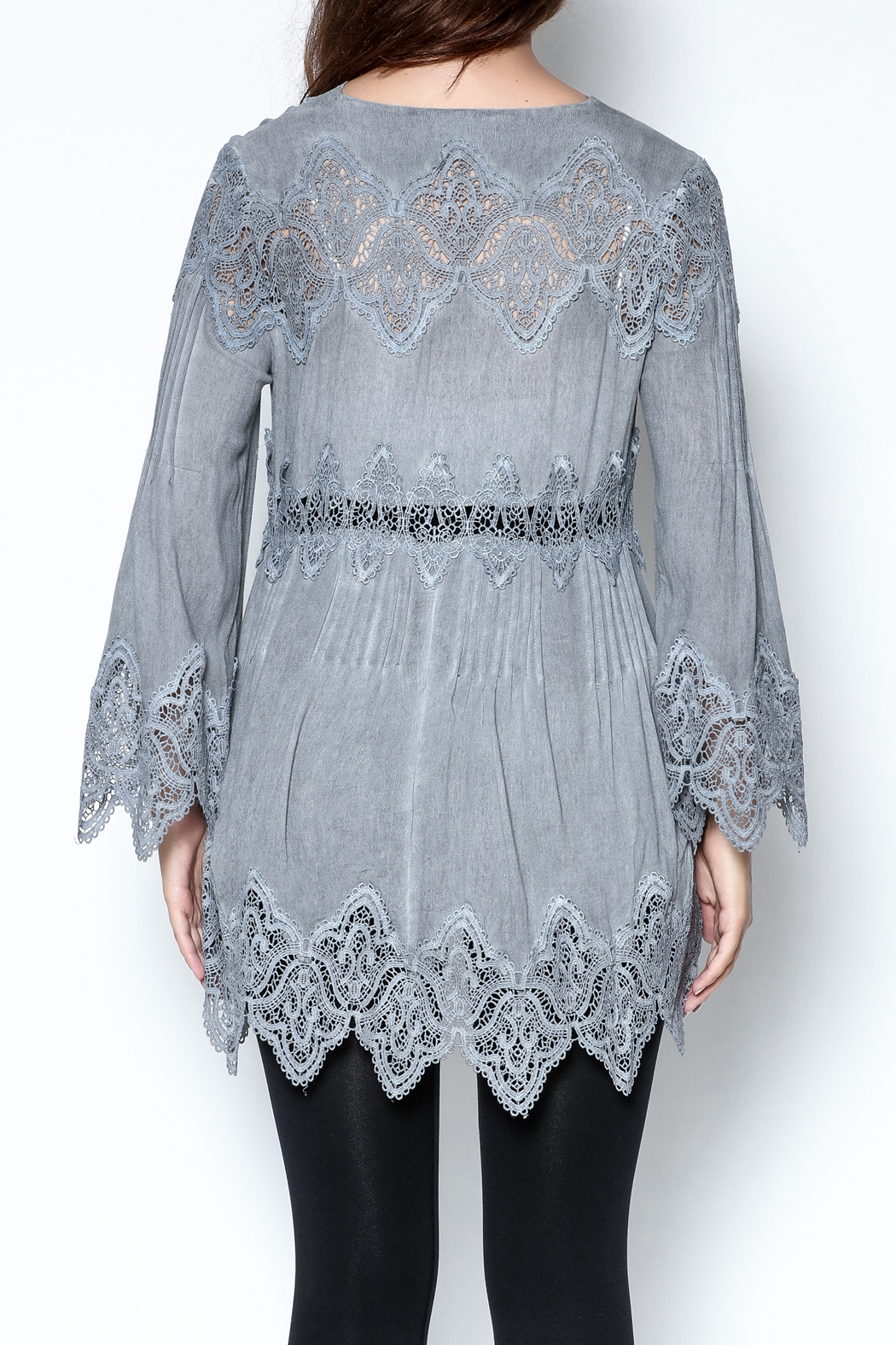 The Vintage Valet Grey Lace Top - Back Cropped Image