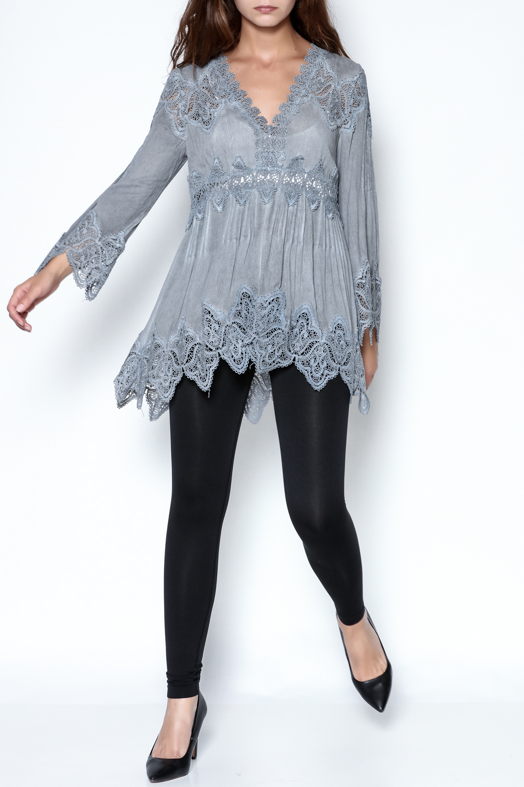 The Vintage Valet Grey Lace Top - Front Full Image