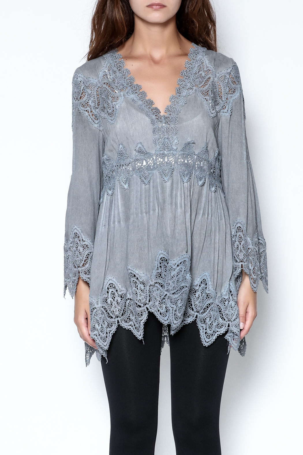 The Vintage Valet Grey Lace Top - Main Image