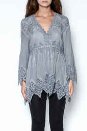 The Vintage Valet Grey Lace Top - Front cropped