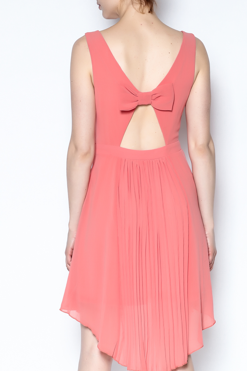 The Vintage Valet Peach Pleated Dress - Back Cropped Image