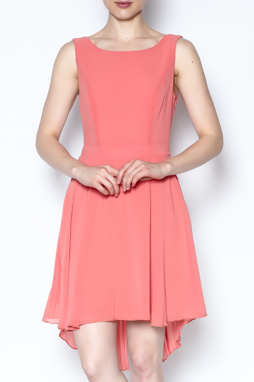 The Vintage Valet Peach Pleated Dress - Front Cropped Image