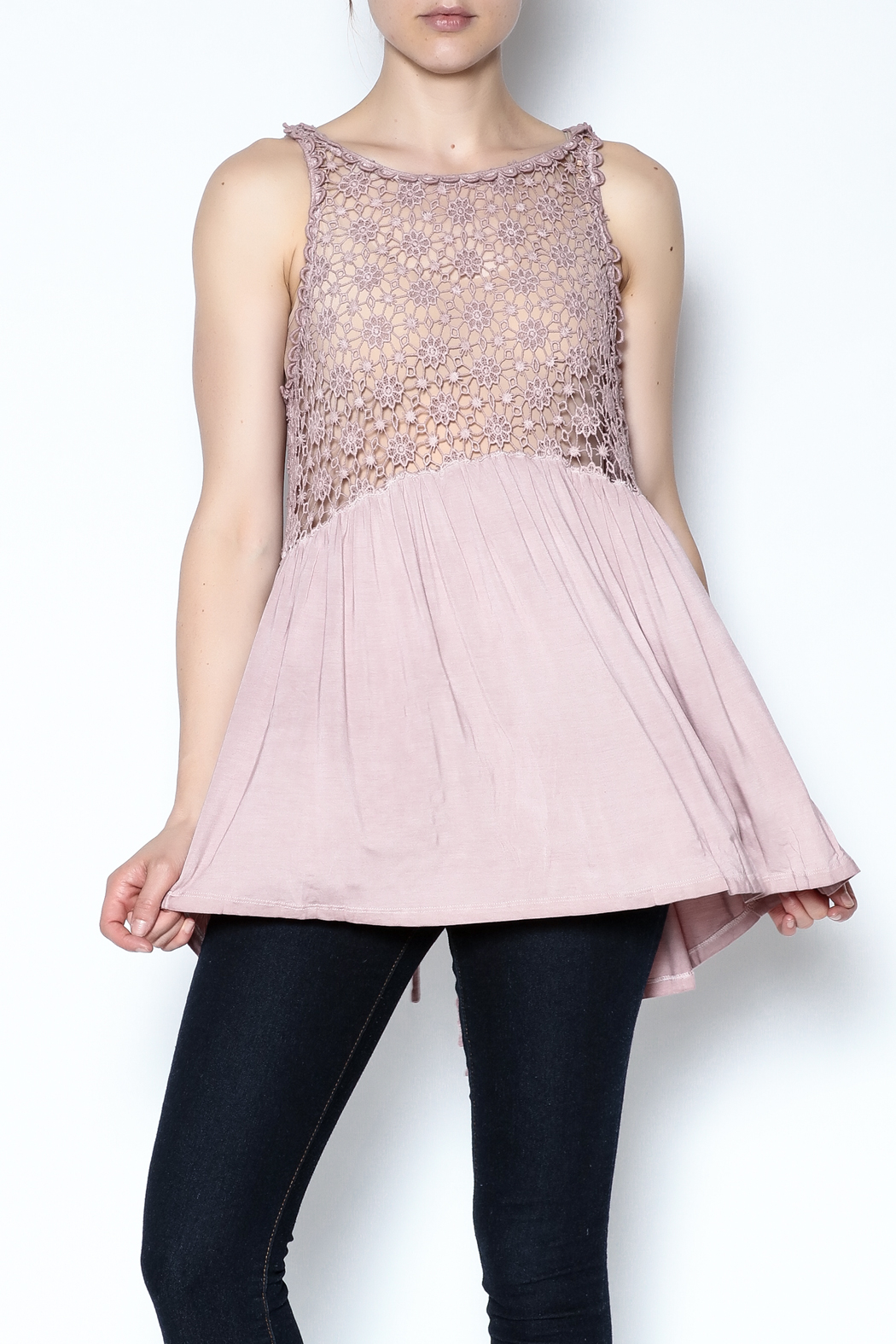 The Vintage Valet Pink Crochet Tank - Main Image