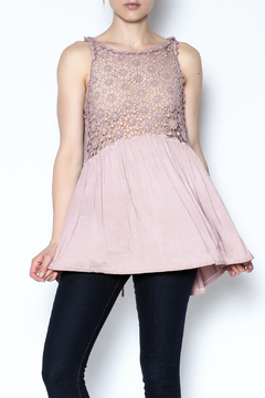 The Vintage Valet Pink Crochet Tank - Product List Image