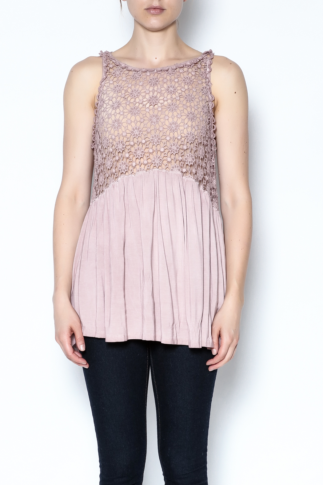 The Vintage Valet Pink Crochet Tank - Side Cropped Image