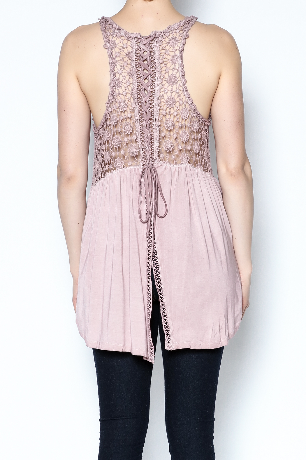 The Vintage Valet Pink Crochet Tank - Back Cropped Image