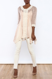 The Vintage Valet Pink Crochet Top - Front full body