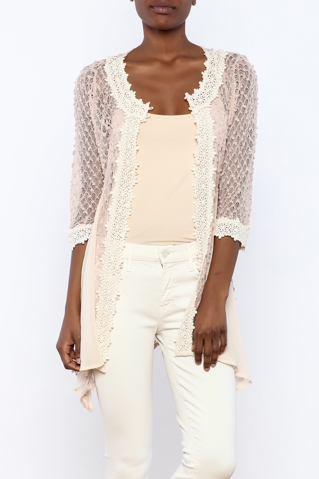 The Vintage Valet Pink Crochet Top - Main Image