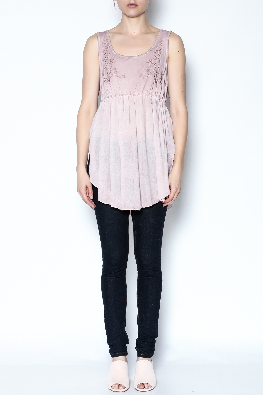 The Vintage Valet Pink Embroidered Tank - Front Full Image