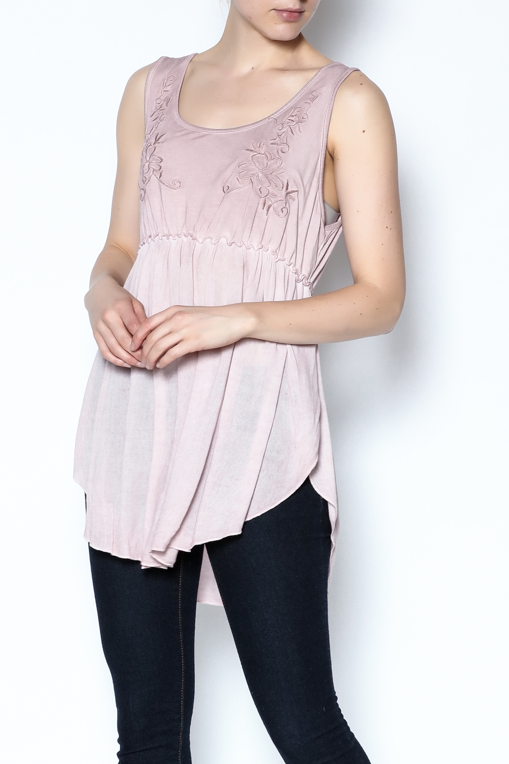 The Vintage Valet Pink Embroidered Tank - Main Image