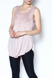The Vintage Valet Pink Embroidered Tank - Front cropped