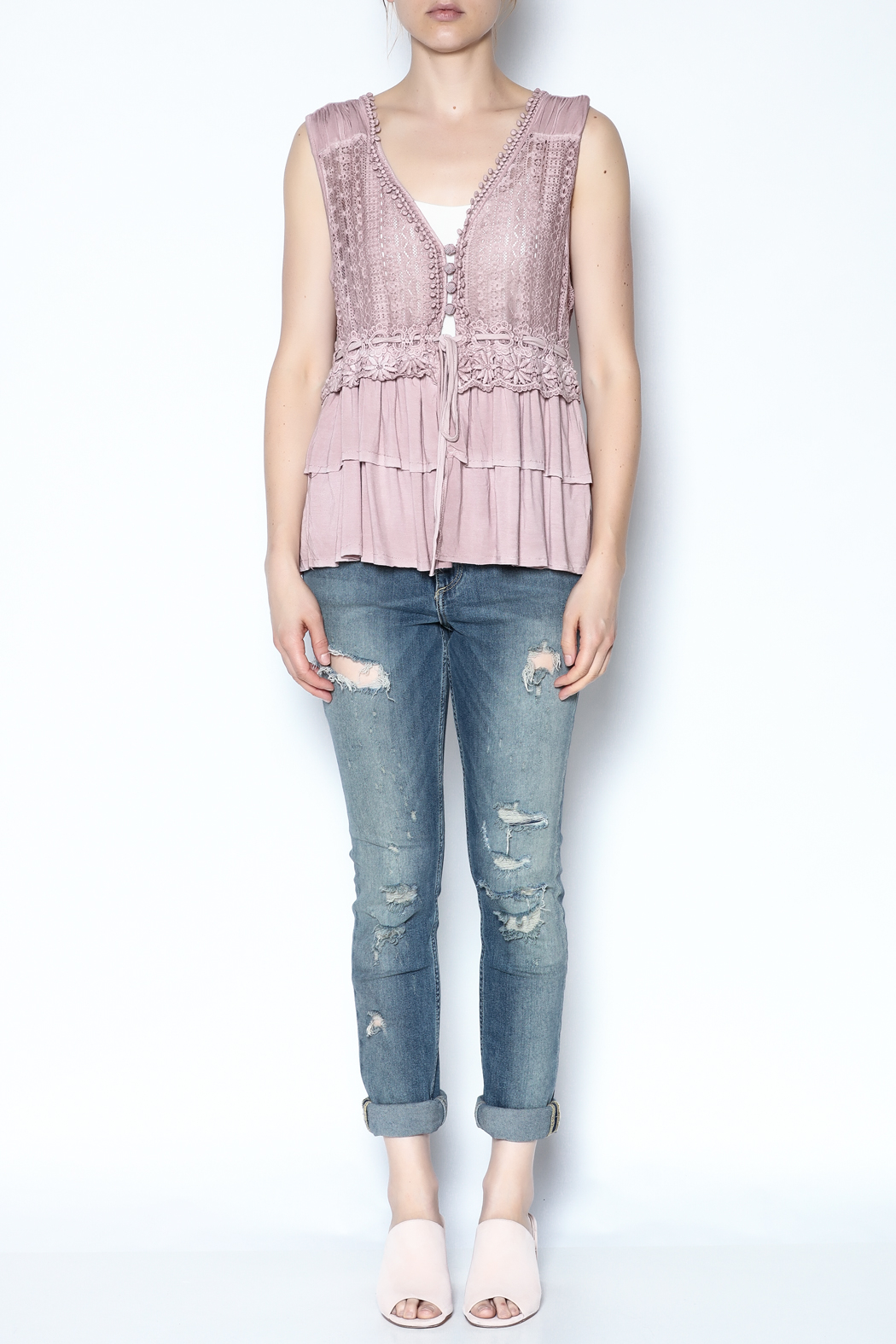 The Vintage Valet Pink Ruffle Tank - Front Full Image