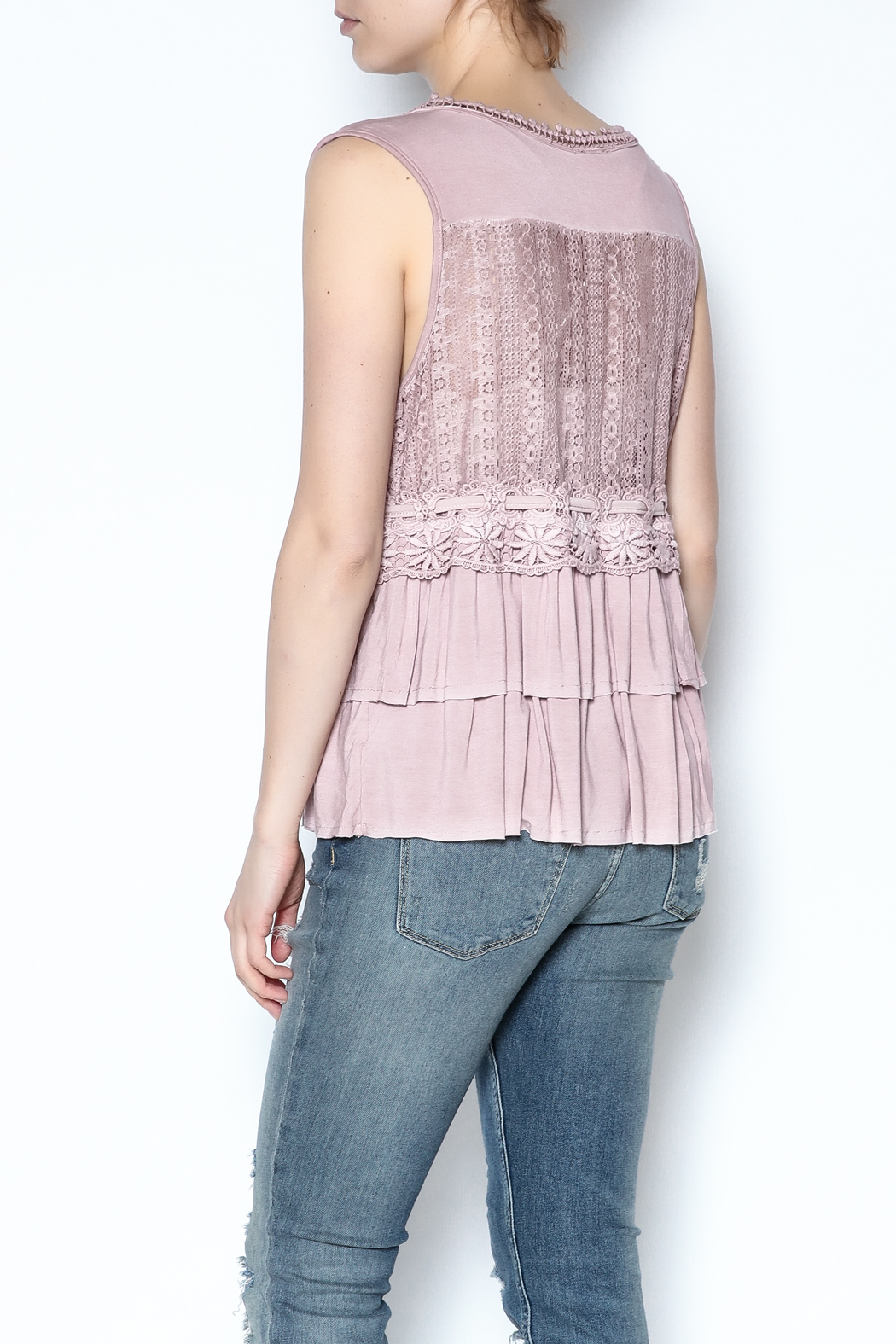 The Vintage Valet Pink Ruffle Tank - Back Cropped Image